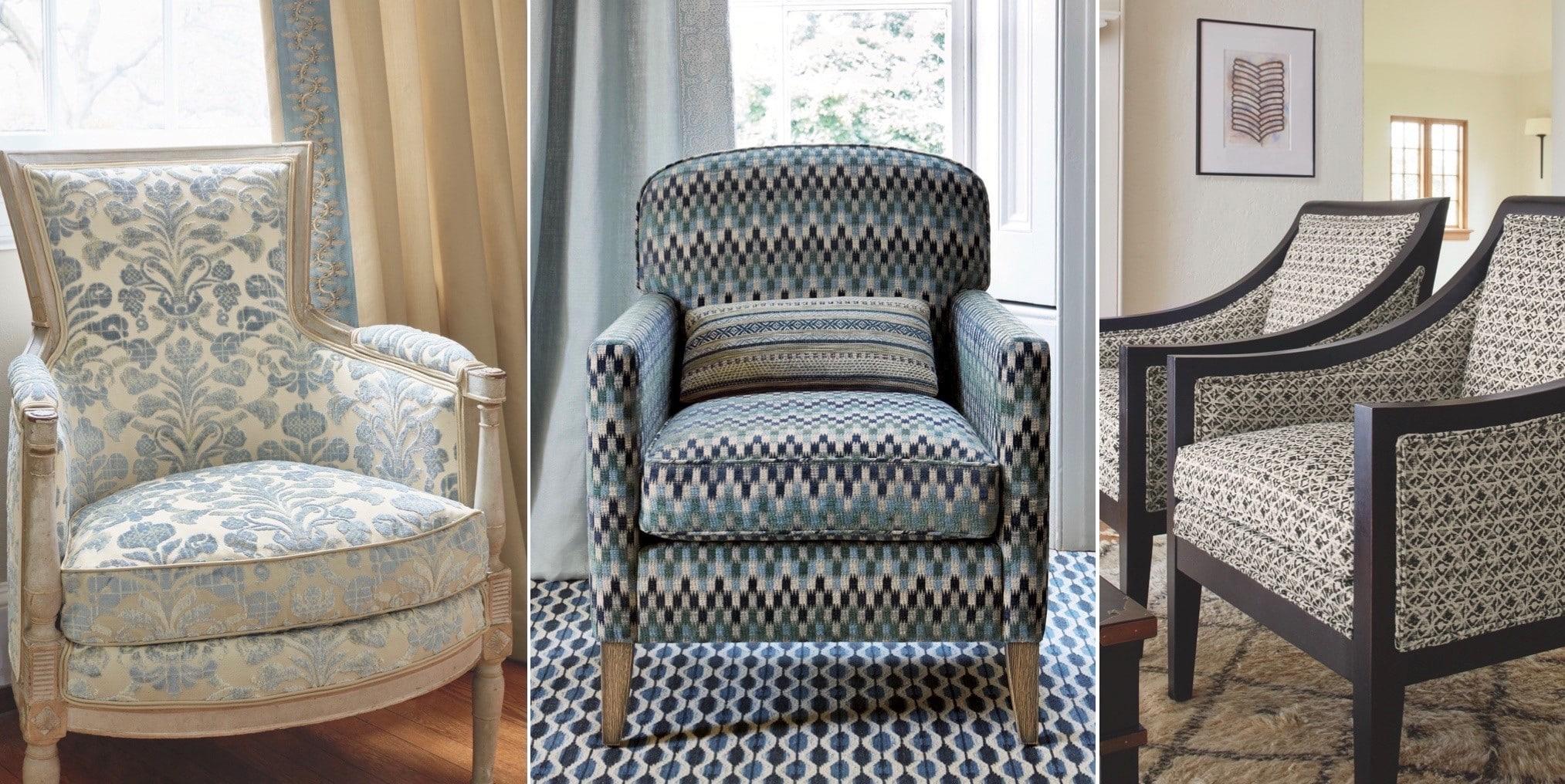 fauteuil recouvert de tissu pour réparation