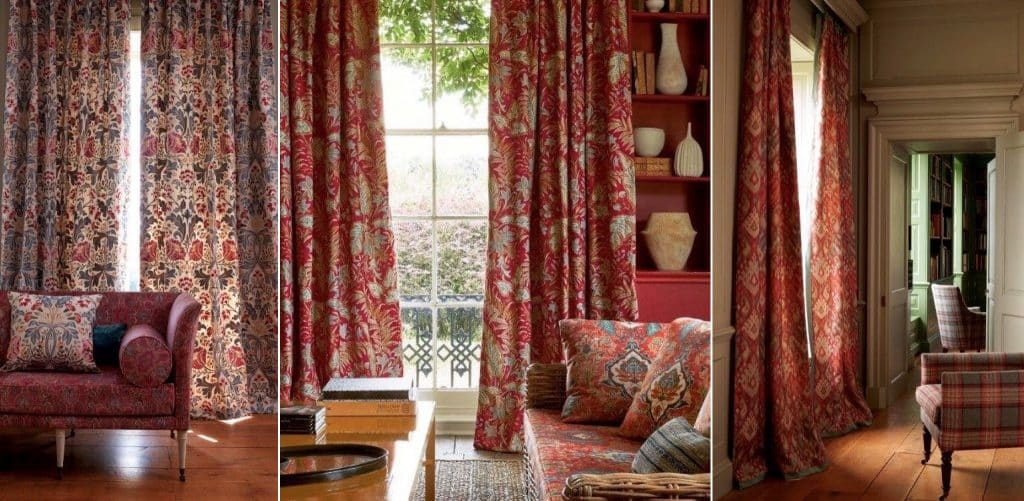 tenture rouge motif fleuri haut de gamme
