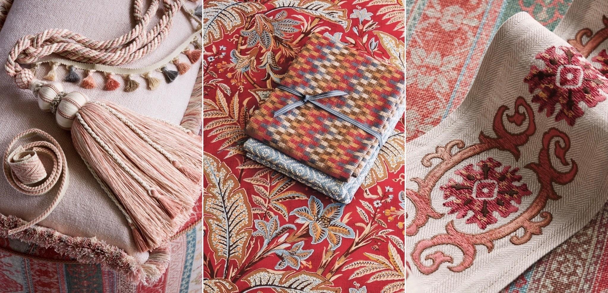 3 exemples de tissu d'ameublement