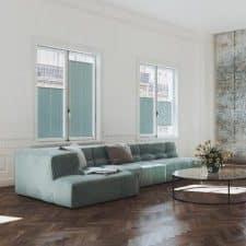 store plissé vert dans un salon